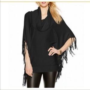 Michael Kors Cowl Neck Sweater Poncho Black Fringe